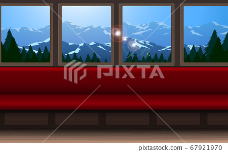 Interior decoration of train on the forest and mountain background 67921970