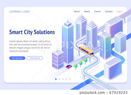 Vector landing page of smart city solutions 67929283