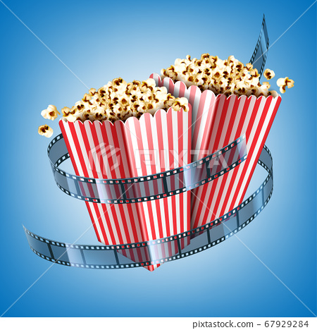 Movie theater flyer with film strip and popcorn 67929284
