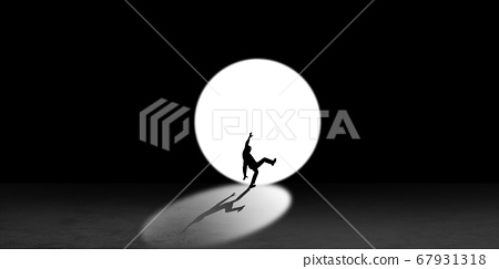 Silhouette of man walking in the night toward the light, view from above 67931318