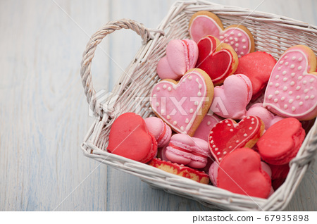 cookies in the shape of hearts on Valentine's Day 67935898