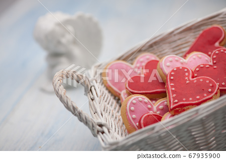 cookies in the shape of hearts on Valentine's Day 67935900