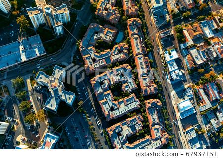 Aerial view of buildings on near Westwood, Los Angeles 67937151
