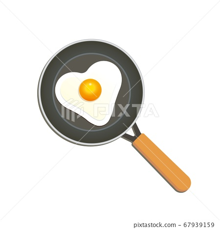 Fried egg in a pan. Heart shaped chicken egg. 67939159