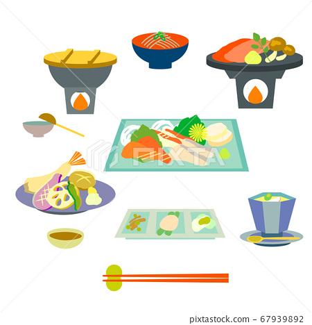 一家旅館的日本懷石料理的簡單而優雅的日本料理插圖 67939892