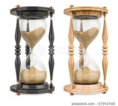Wooden Sand Timer Hourglasses. 3D rendering 67942586