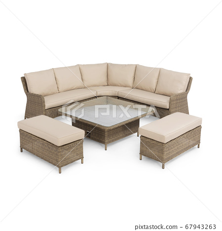 Rattan Square Corner Sofa and Bench Set with Rising Table Isolated on White Background. Patio Wicker Benches with Seat and Back Beige Cushions. Outdoor Rattan Furniture 67943263