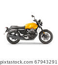 Yellow Retro Racing Motorcycle with Two-Cylinder Engine Isolated on White Background. Modern Sportbike. Side View of Classic Bike. Vintage Personal Transport. 3D Rendering 67943291