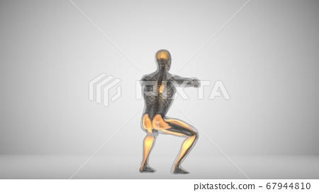 3d render of a man doing squats with backlighting muscles 67944810