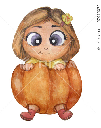 Halloween. Watercolor illustration of a cute little kid who is sitting in a pumpkin. Girl celebrates Halloween. Isolated on a white background 67946073