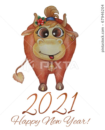 Cute cow. Vertical poster Happy New Year 2021. Funny brown cow with an earring in his ear and a bell in his neck. Watercolor on a white background. 2021 year of the bull.  67946204