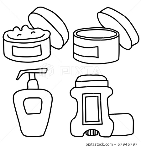 Contour drawings of cosmetics for the body. Cream, jar with an open skin care product, tonic and deodorant. Sign and line. Vector black outline. 67946797