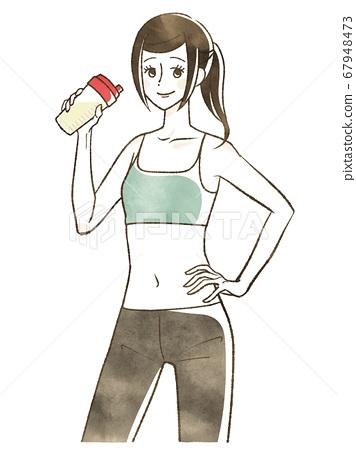 一個女人喝蛋白質 67948473