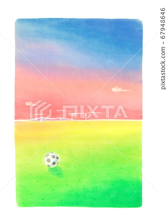 A soccer ball is rolling. In the background, the scale of the ground is expressed in a colorful color scheme 67948646