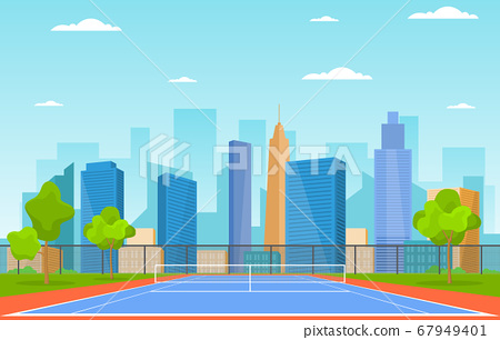 Outdoor Tennis Court Sport Game Recreation Cartoon 67949401