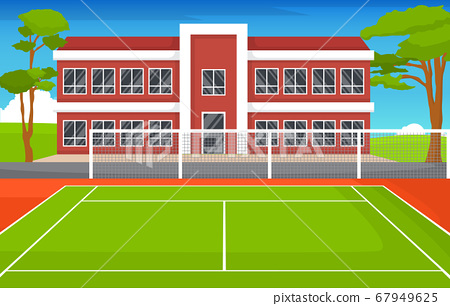 Outdoor Tennis Court Sport Game Recreation Cartoon 67949625