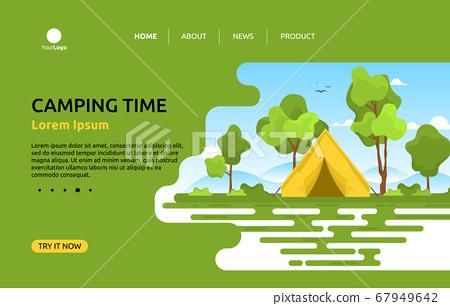 Camping Adventure Summer Nature Landscape Cartoon 67949642