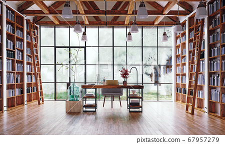 the home office  with great library. 67957279