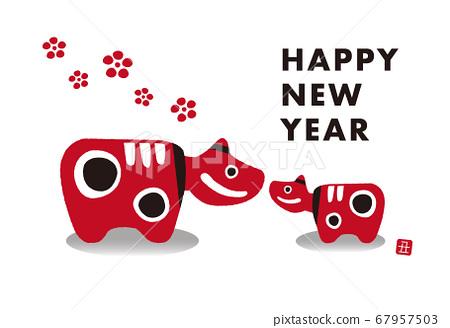 "2021 ox year New Year's card horizontal ""Akabeko"" 67957503"