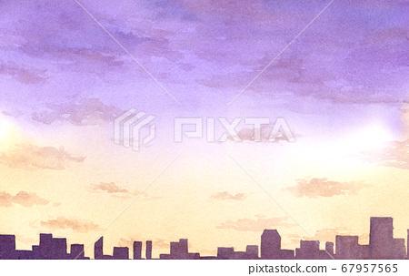 황혼의 거리 풍경 수채화 67957565