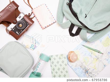 Mockup tourist set items map backpack money 67958786