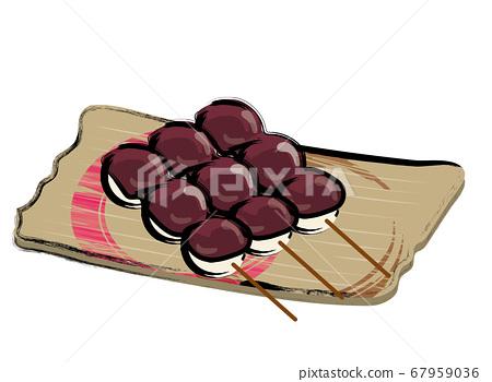 串燒餃子刺身豆漿的模擬觸摸筆刷手繪插圖 67959036