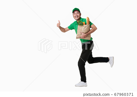 Asian delivery man wearing in green uniform 67960371