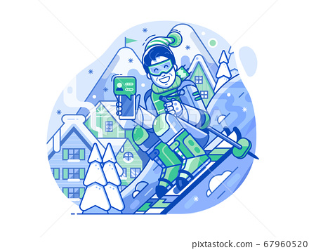 Cheerful Skier Man with Smart Phone on Slope 67960520