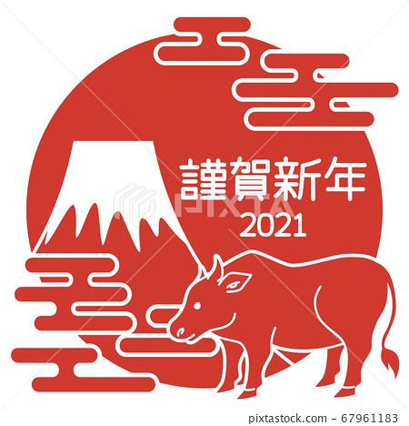 [2021牛年]簡單的牛插圖法官圖標[富士山圖案] 67961183