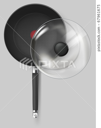 Realistic Classic fry pan with glass lid and handle. Vector 67961675