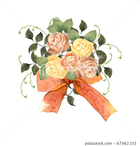 장미 꽃다발 수채화 67962103