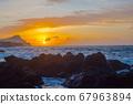 Lava stones on the beach of Piscinas Naturais Biscoitos. Atlantic Ocean. Terceira Azores, Portugal. 67963894