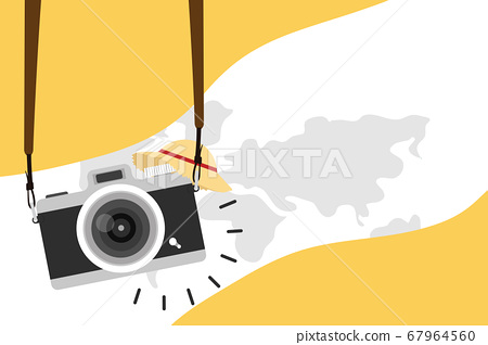 hanging vintage camera with earth Travel poster 67964560