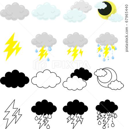 傳達多雲天氣和雷聲天氣的可愛圖標 67965440