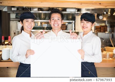 화이트 보드 점원 남녀 음식업 67967993