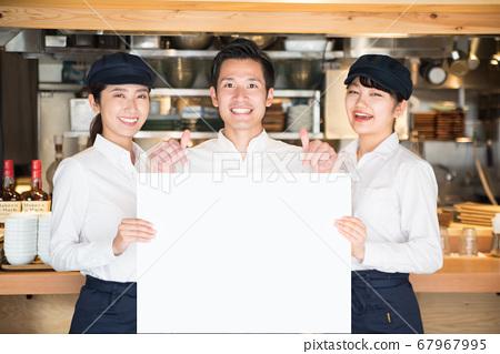 화이트 보드 점원 남녀 음식업 67967995