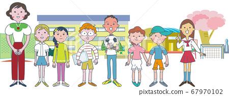 선생님의 주위에 모이는 초등학생들의 세트 일러스트 67970102