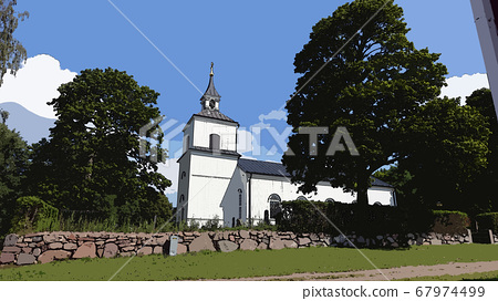 Digital painting style representing an ancient church in a small Scandinavian village 67974499
