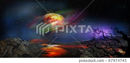 Fantasy and surreal alien planet landscape. 67974745