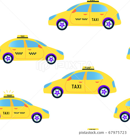 Taxi seamless pattern - vector illustration, cute 67975723