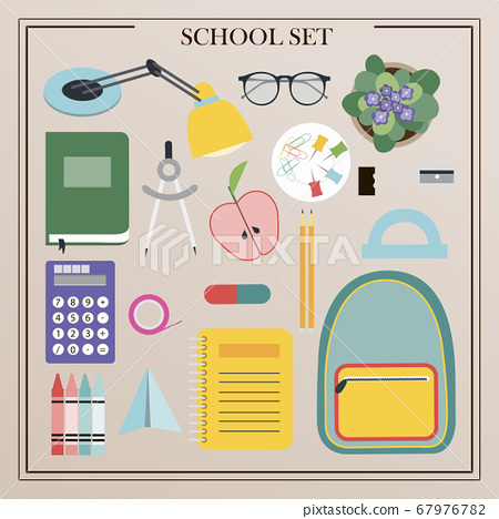 A set of vector office supplies, school and office attributes. Flat design of insulated pencils, pens, rulers, backpack, globe, paints, palettes, brushes, books, notebooks, compasses, telescope 67976782