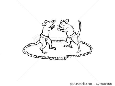 쥐 두 마리가 스모 취하고 고양이 속여을 낸 일러스트 67980466