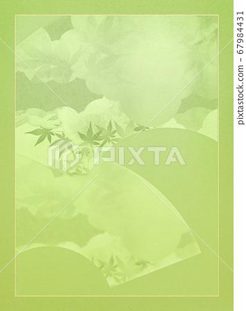 일본의 부채를 소재로 한 녹색 배경 67984431