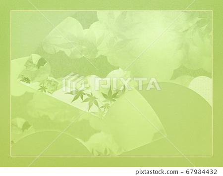 일본의 부채를 소재로 한 녹색 배경 67984432
