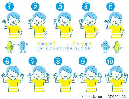 영어로 1부터 10까지 세는 소년의 표정 세트와 로봇 67985108