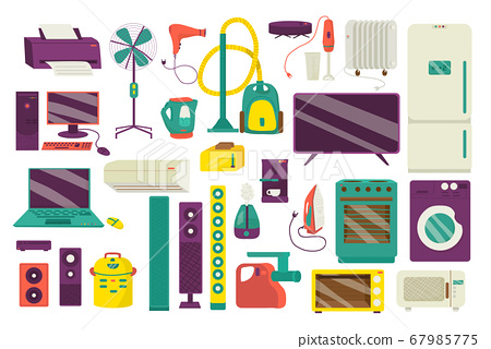 Home appliance, household equipment icons set of isolated on white vector illustrations. Domestic appliances kitchen equipment . 67985775