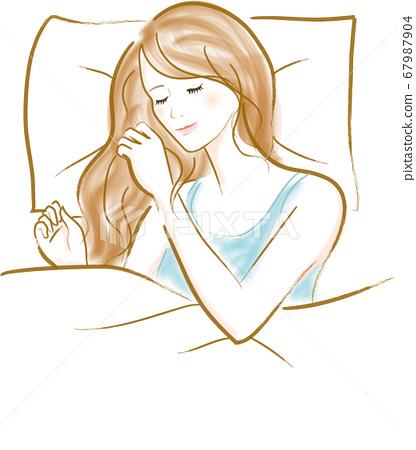 건강한 수면을 취 자고있는 여자 67987904