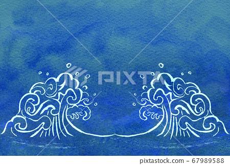 바다 파도 수채화 그린 67989588