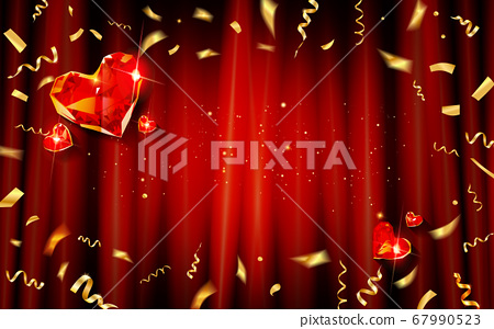Red curtain with gold confetti and hearts 67990523
