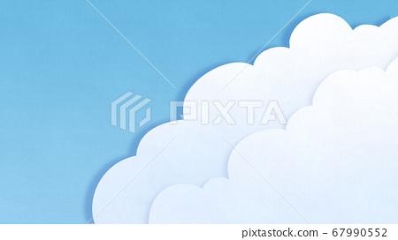 종이 컷의 푸른 하늘과 구름 배경 67990552